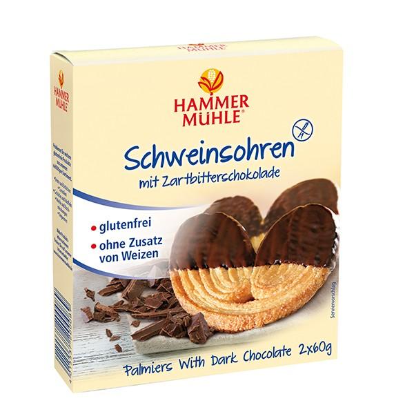 Schweinsohren mit Zartbitterschokolade