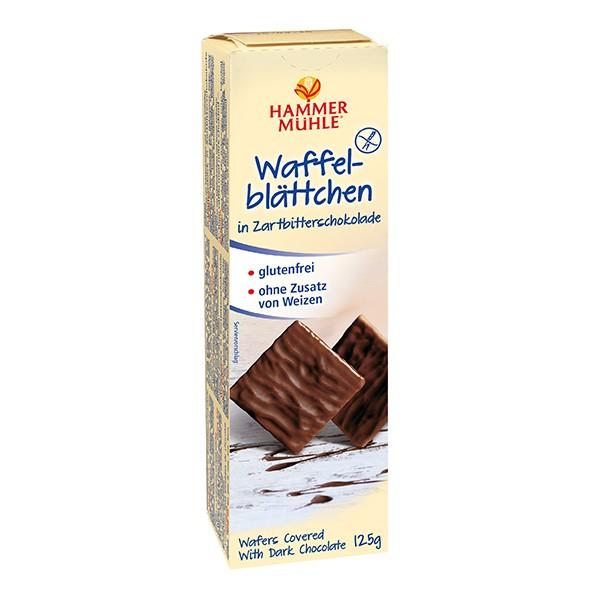 Waffelblättchen in Zartbitterschokolade