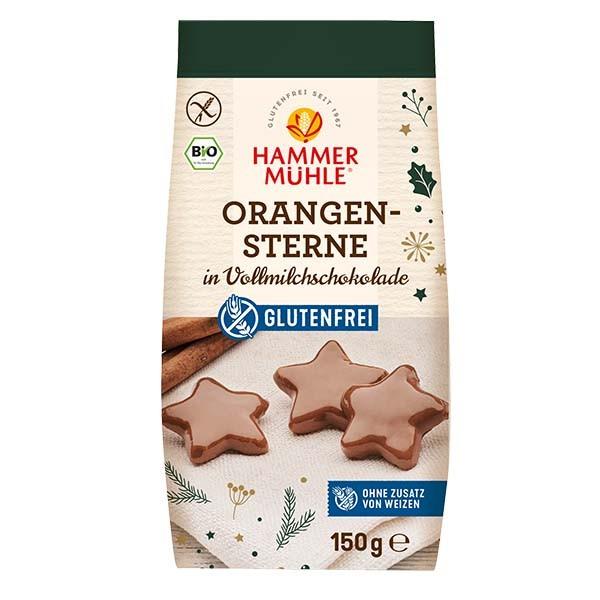 Bio Orangensterne in Vollmilchschokolade
